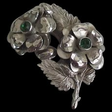 Large Sterling Silver Retro Modern Floral Pin