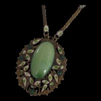 Early 19th Century Brass Enamel and Green Glass Necklace