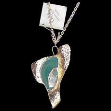 Vintage Artisan Clear Quartz Crystal Pendant Necklace