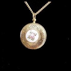 Pocket Watch Style Enameled Rose Locket Necklace