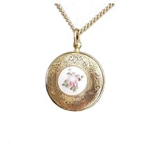 Pocket Watch Style Enameled Rose Locket Necklace