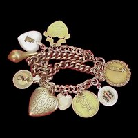 Mid Century Gold Filled Double Chain Charm Bracelet