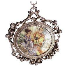 Oriental Porcelain Mirror Pendant Necklace