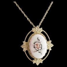 Painted Pink and Black Rose Porcelain Pin Pendant Necklace