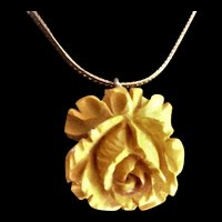 Deeply Carved Carmel Bakelite Rose Necklace