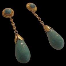 14kt Fine Blue Turquoise Drop Earrings