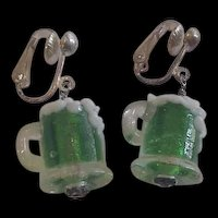 Miniature Blown Glass Glasses of Green Beer Earrings