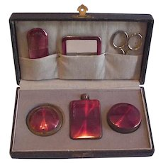 Edwardian Era Fitted Vanity Case  Necessaire Cranberry Enamel