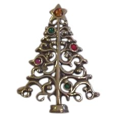 Sterling Silver and Rhinestone Christmas Tree Pin Pendant