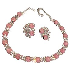 Trifari Pink Glass and Rhinestones Necklace and Earrings