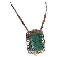 Vintage Vendome Large Faux Jade Necklace