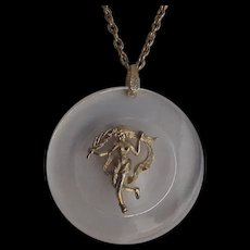 Huge Clear Lucite Pendant Necklace Virgo