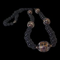 Black Glass Enameled Beads Necklace