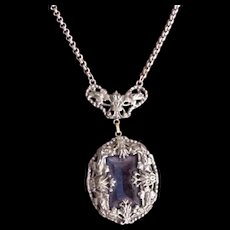 Victorian Revival  Blue Glass Necklace
