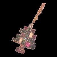 Rhinestone Candle Christmas Tree Pendant Necklace