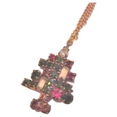 Rhinestone Candle Christmas Tree Pendant Necklace
