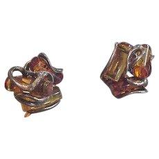 Sterling Silver Amber Cylinders Earrings