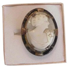 Art Deco Brass and Shell Cameo Ring Large