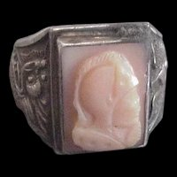 Silver Coral Cameo Ring China
