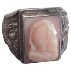 Silver Coral Cameo Ring China