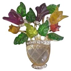 Lucite Colors Vase of Flowers Pin