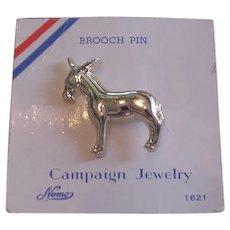 Vintage Democrat Donkey Pin on Original Card