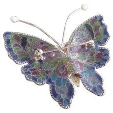 Large  Plique -a-Jour Enamel Butterfly Pin