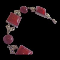 Art Deco Carnelian Czech Glass Bracelet