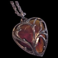 Glass Topaz Heart Necklace