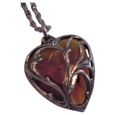 Glass Topaz Heart Necklace