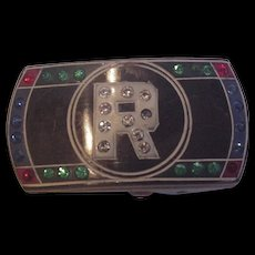 Old Celluloid and Rhinestone Belt Buckle