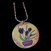 Enameled Crocus Flower Necklace with Bat Accents
