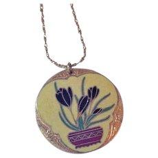 Enameled Crocus Flower Necklace with Bat Accents