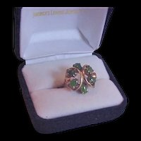 Sterling Silver Vermeil and Jade Ring