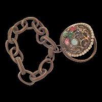 Vintage Brass and Rhinestone Charm Bracelet