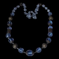 Czech Blue Glass and Brass Art Deco Era Necklace