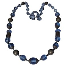 Czech Blue Glass and Brass Art Deco Era Necklace