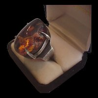 Superb Mid Century Sterling and Amber Ring
