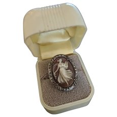 Art Deco Sterling Full Body Hardstone Cameo and Marcasite Ring