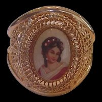 Huge Hinged Bangle Bracelet with Porcelain Portrait