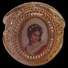 Huge Hinged Bangle Bracelet with Porcelain Portrait