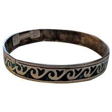 Mid Century Sterling Silver Crushed Turquoise Bangle Bracelt Original Label