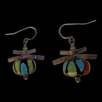 Sterling Silver Art Glass Chinese Latern Earrings