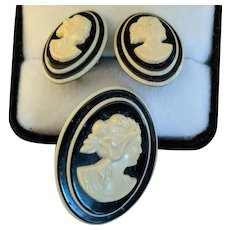 Old Laminated Celluloid Cameo Pin and Earrings