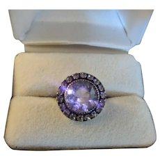 Art Deco Sterling Silver Rhinestone Ring