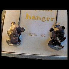 Vintage Silver Bib Clips in original Box