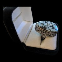 Sterling Silver Spider's Web Stone Ring