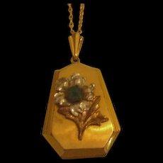 Retro Modern Rhinestone Locket Necklace