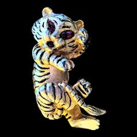 Polcini Enamel and Rhinestone Tiger Pin