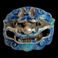 Chinese Silver and Blue Enamel Dragon Head Ring